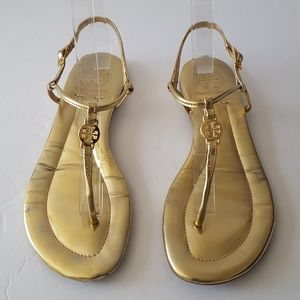 Tory Burch Emmie Gold Leather Thong Flat Sandals